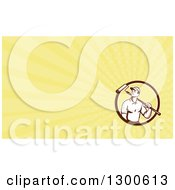 Clipart Of A Retro Male Painter With A Roller Brush And Yellow Rays Background Or Business Card Design Royalty Free Illustration