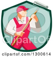 Clipart Of A Retro Male House Painter In Red Overalls Holding A Roller Brush In A Green Shield Royalty Free Vector Illustration