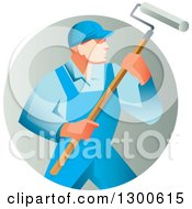 Clipart Of A Retro Male House Painter In Blue Overalls Holding A Roller Brush In A Gradient Circle Royalty Free Vector Illustration