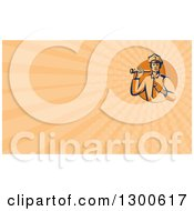 Clipart Of A Retro Police Man Using A Flashlight And Pointing And Pastel Orange Rays Background Or Business Card Design Royalty Free Illustration by patrimonio