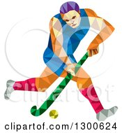 Clipart Of A Retro Geometric Low Poly Man Playing Field Hockey Royalty Free Vector Illustration by patrimonio