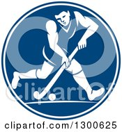 Clipart Of A Retro Man Playing Field Hockey In A Blue And White Circle Royalty Free Vector Illustration by patrimonio