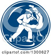 Clipart Of Retro Judo Opponents In A Throw Takedown In A Blue And White Circle Royalty Free Vector Illustration