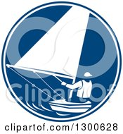 Clipart Of A Retro Man Sailing In A Blue And White Circle Royalty Free Vector Illustration