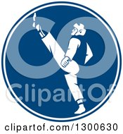 Clipart Of A Retro Taekwondo Fighter Kicking In A Blue And White Circle Royalty Free Vector Illustration