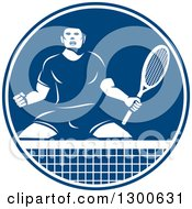 Clipart Of A Retro Tennis Player Man In An Aggressive Competitive Stance In A Blue And White Circle Royalty Free Vector Illustration