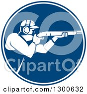 Clipart Of A Retro Man Shooting A Rifle In A Blue And White Circle Royalty Free Vector Illustration