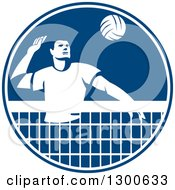 Clipart Of A Retro Man Playing Volleyball In A Blue And White Circle Royalty Free Vector Illustration