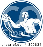 Clipart Of A Retro Man Playing Water Polo In A Blue And White Circle Royalty Free Vector Illustration