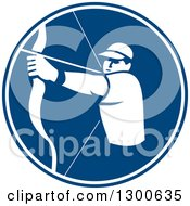 Clipart Of A Retro White Silhouetted Archer Aiming A Bow And Arrow In A Blue Circle Royalty Free Vector Illustration