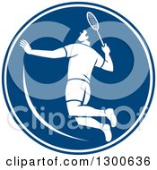 Clipart Of A Retro Male Badminton Player Jumping In A Blue And White Circle Royalty Free Vector Illustration