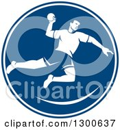 Clipart Of A Retro Male Jumping Handball Player In A Blue And White Circle Royalty Free Vector Illustration