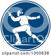 Retro Man Fencing In A Blue And White Circle