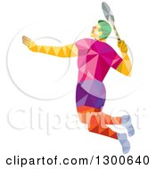 Clipart Of A Retro Geometric Low Poly Male Badminton Player Jumping Royalty Free Vector Illustration