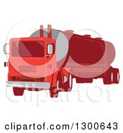 Clipart Of A Retro Red Cement Truck Tanker Royalty Free Vector Illustration