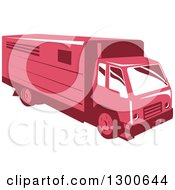 Clipart Of A Retro Red Horse Trailer Truck Royalty Free Vector Illustration by patrimonio