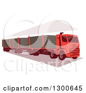 Clipart Of A Retro Red Logging Truck Royalty Free Vector Illustration