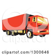 Retro Red Closed Delivery Van Or Big Rig Truck