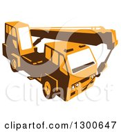 Clipart Of A Retro Yellow Truck Mounted Hydraulic Crane Cartage With Hydraulic Boom Hoist Royalty Free Vector Illustration