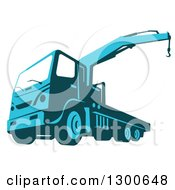 Clipart Of A Retro Blue Ruck Mounted Hydraulic Crane Cartage Hoist Royalty Free Vector Illustration