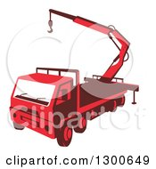 Clipart Of A Retro Red Truck Mounted Hydraulic Crane Cartage With Hydraulic Boom Hoist Royalty Free Vector Illustration