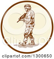 Clipart Of A Cartoon American Soldier With An Armalite Rifle In A Circle Royalty Free Vector Illustration