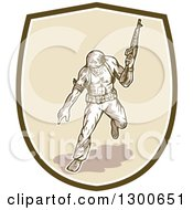 Clipart Of A Cartoon American Soldier With An Armalite Rifle Pointing In A Shield Royalty Free Vector Illustration