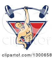 Clipart Of A Retro Bald White Male Bodybuilder Lifting A Barbell One Handed And Emerging From A Blue White And Red Triangle Royalty Free Vector Illustration