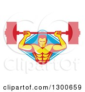 Clipart Of A Retro Male Bodybuilder Lifting A Barbell And Emerging From A Blue And White Diamond Royalty Free Vector Illustration by patrimonio