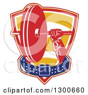 Clipart Of A Retro Male Bodybuilders Hand Holding A Barbell With A Belt In A Shield Royalty Free Vector Illustration