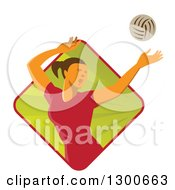 Clipart Of A Retro White Female Volleyball Player Spiking Over A Green And Red Ray Diamond Royalty Free Vector Illustration by patrimonio