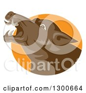 Clipart Of A Retro Angry Brown Boar Head In An Orange Oval Royalty Free Vector Illustration
