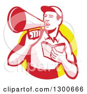 Clipart Of A Retro Male Worker Holding A Book And Using A Bullhorn In A Yellow Circle Royalty Free Vector Illustration
