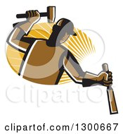 Clipart Of A Retro Male Carpenter Hammering A Chisel Over An Oval Of Sunshine Royalty Free Vector Illustration