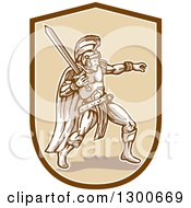 Clipart Of A Fighting Roman Centurion Soldier With A Sword In A Shield Royalty Free Vector Illustration by patrimonio
