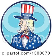Clipart Of A Cartoon Patriotic American Uncle Sam In A Blue And White Circle Royalty Free Vector Illustration