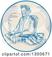Clipart Of A Sketched Victorian Man Signing Documents In A Circle Royalty Free Vector Illustration