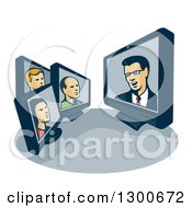 Clipart Of Retro Styled Computer Screens With Poeple Having A Conference Royalty Free Vector Illustration