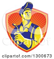 Clipart Of A Retro Male Welder Holding A Torch In A Sunny Shield Royalty Free Vector Illustration