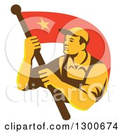 Clipart Of A Retro Chinese Communist Worker Waving A Flag Royalty Free Vector Illustration