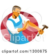 Clipart Of A Retro Male Worker Rolling Up A Sleeve And Holding A Hammer Over An Oval Of Red Rays Royalty Free Vector Illustration