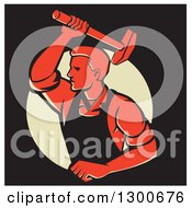 Clipart Of A Retro Male Worker Hammering In Red Black And Yellow Royalty Free Vector Illustration
