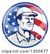 Clipart Of A Retro American Worker Wearing A Cap In An American Flag Circle Royalty Free Vector Illustration