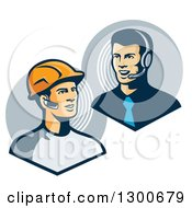 Clipart Of A Retro White Male Construction Worker Communicating To A Telemarketer Or Boss With Bluetooth Ear Pieces Royalty Free Vector Illustration