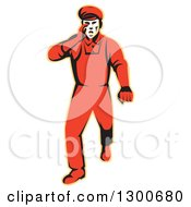 Clipart Of A Retro Male Worker Protesting Walking And Hollering Royalty Free Vector Illustration
