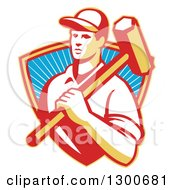 Clipart Of A Retro Male Construction Worker Carrying A Sledgehammer In A Shield Of Rays Royalty Free Vector Illustration