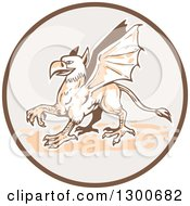 Clipart Of A Walking Griffin In A Brown And Gray Circle Royalty Free Vector Illustration by patrimonio