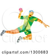 Clipart Of A Retro Low Poly Geometric Male Handball Player Jumping Royalty Free Vector Illustration by patrimonio