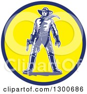Clipart Of A Cartoon Standing Western Cowboy Holding A Pistol In A Blue And Yellow Circle Royalty Free Vector Illustration