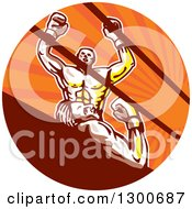 Clipart Of A Cartoon Victorious Boxer Cheering Over A Knocked Out Opponent In An Orange Sun Ray Circle Royalty Free Vector Illustration